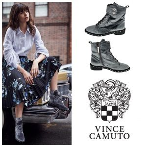 Vince Camuto Talorini Studded Gray Lace Up Boots